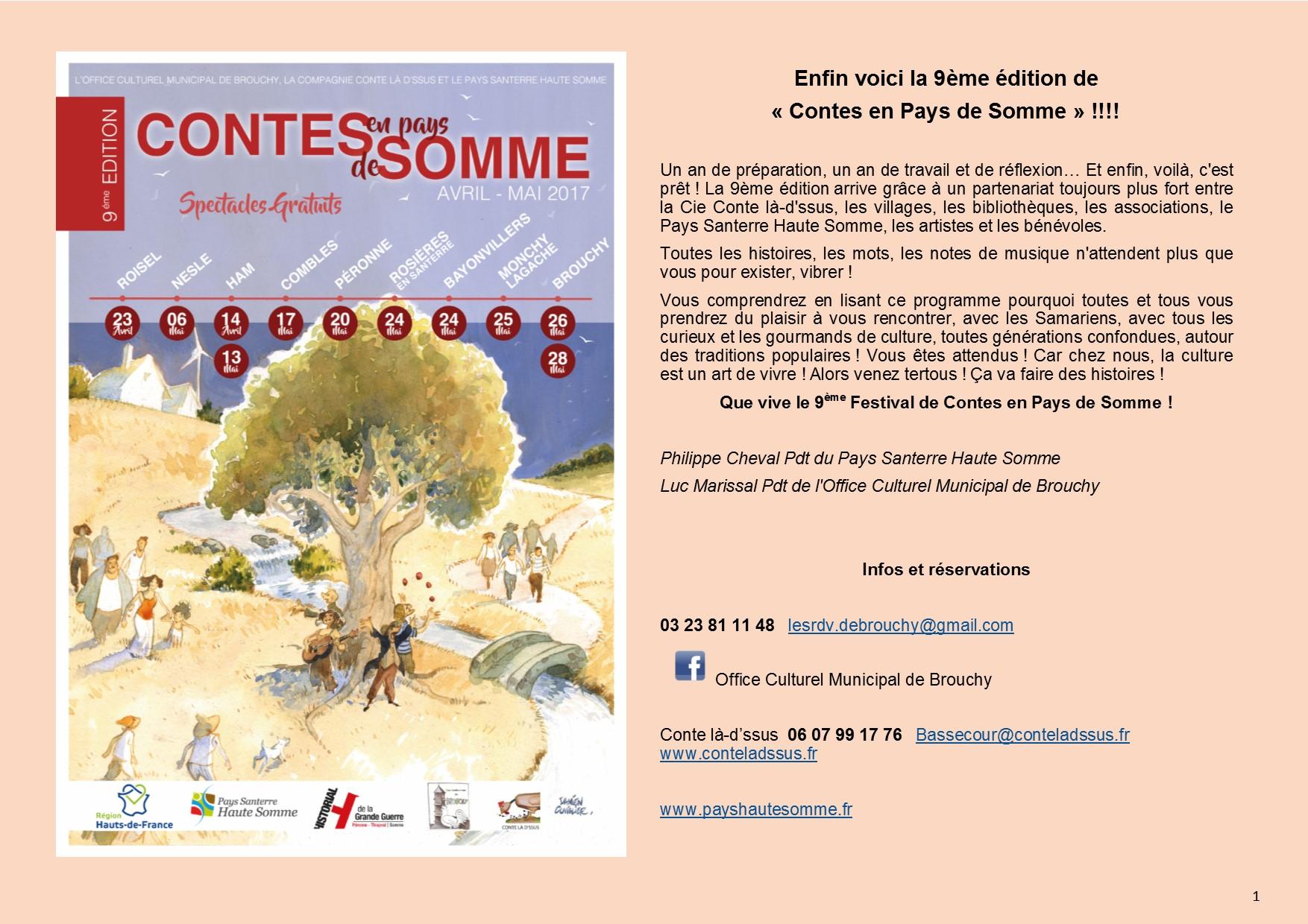programme 9ème édition Contes en Pays de Somme page 1